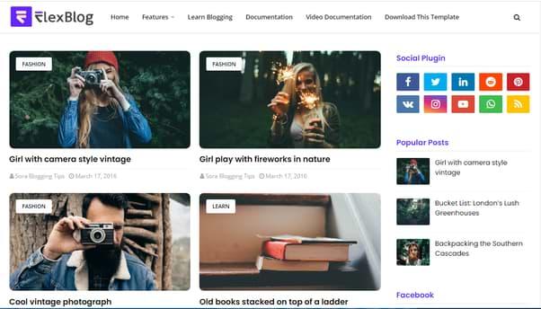 flexblog posts screenshot