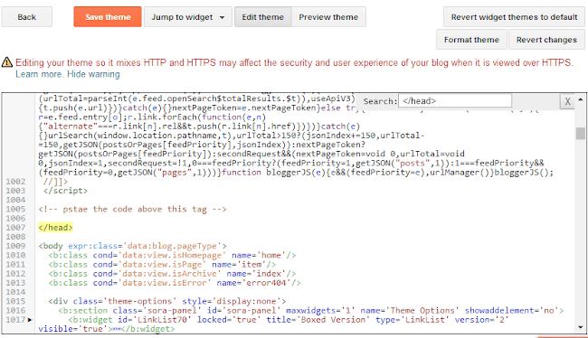 locate javascript code on header tag