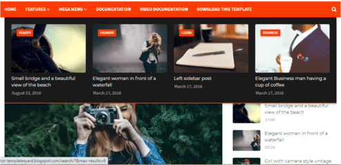 vector blogger template mega menu